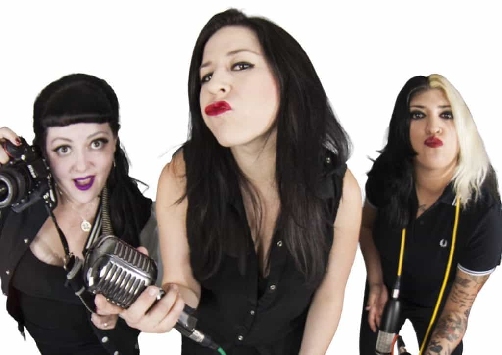 From left, Angela RoseRed, Drea Doll, and Gaby Kaos are the Sound Sisters